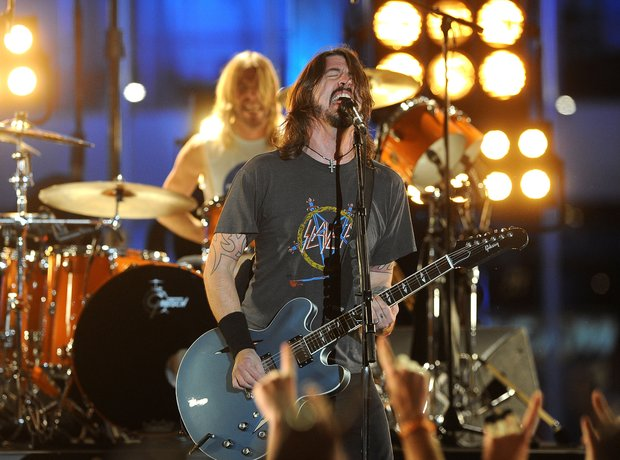 Foo Fighters perform at the Grammy Awards 2012