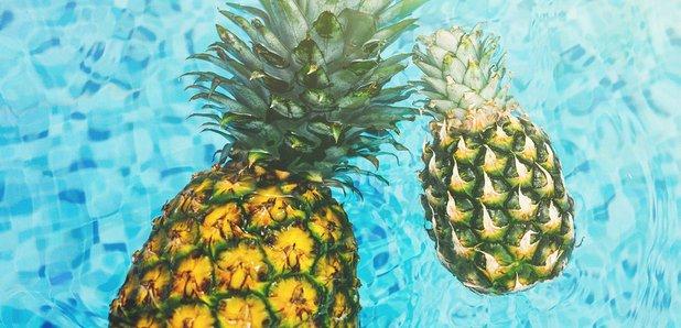 Pineapples in swimming pool