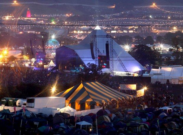 Glastonbury Pyramid stage at night