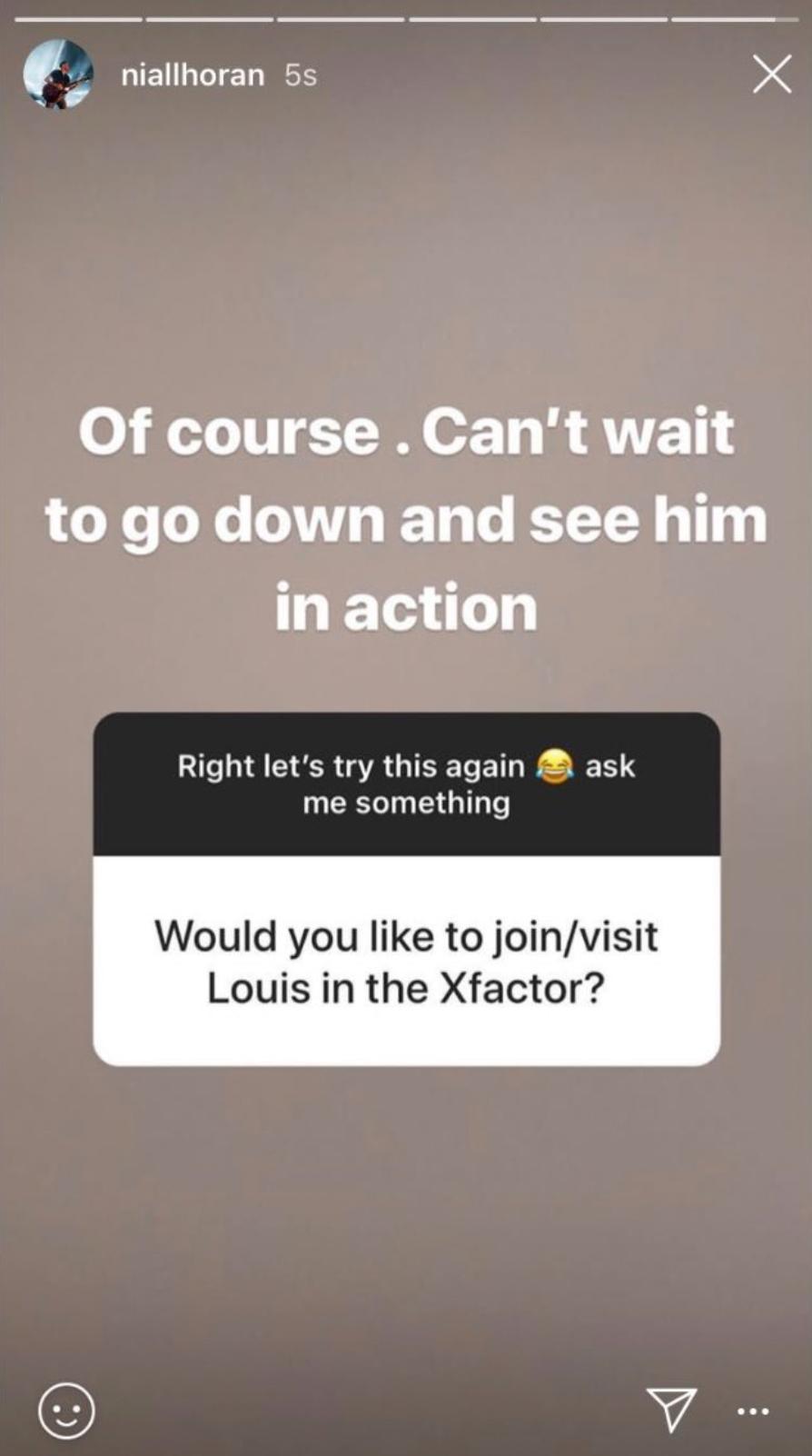 Niall Horan Instagram Story